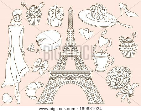 Vector Paris doodle sketch with  eiffel tower, cupcakes, coffee and cheese