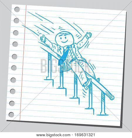 Businessman sliding down the banister