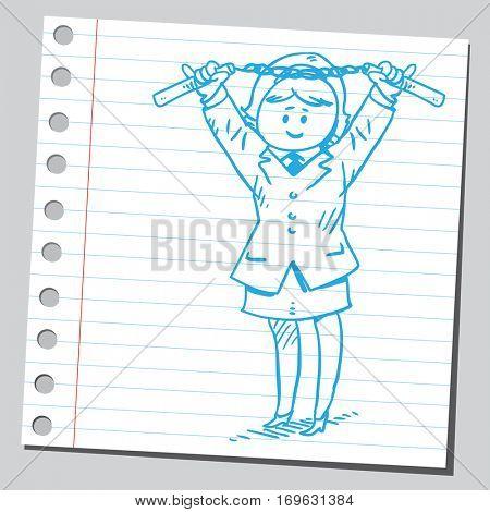 Businesswoman holding nunchaku