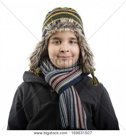 Happy Child Wearing Beanie Isolated
