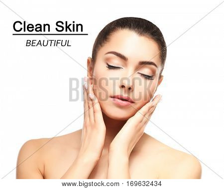Skin care concept. Young woman on white background