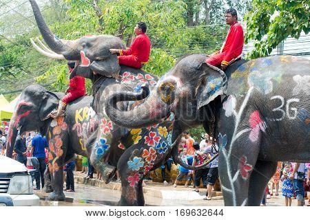 Water Splashing Or Songkran Festival In Thailand