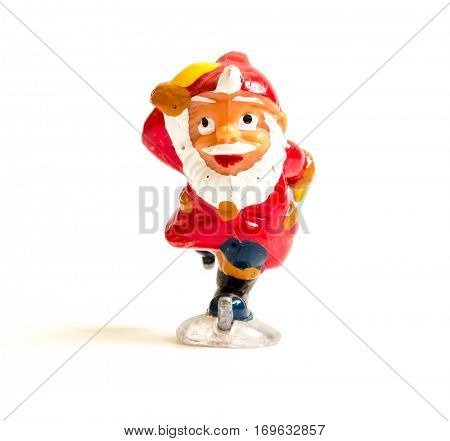 GOMEL, BELARUS - September 13, 2016: Kinder surpise Miniature toy Santa Claus, by Ferero. Ferrero SpA  is an Italian manufacturer of branded chocolate.