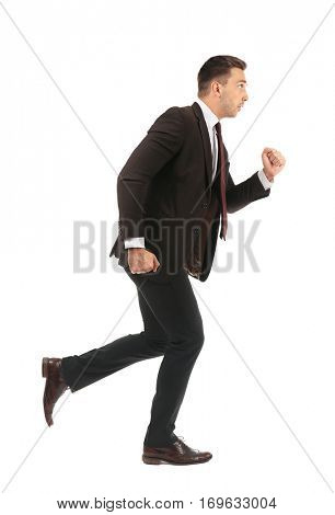 Businessman running away isolated on white