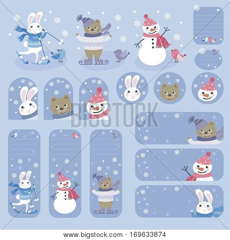 Set of labels and tags on winter theme