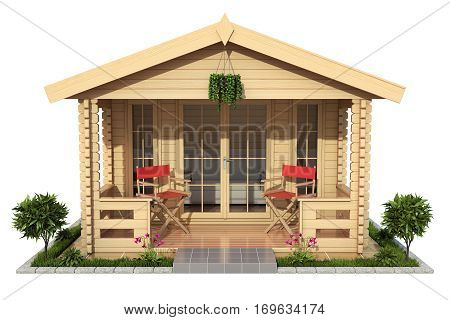 Garden wooden cabin (garden house) isolated on white background - 3D illustration