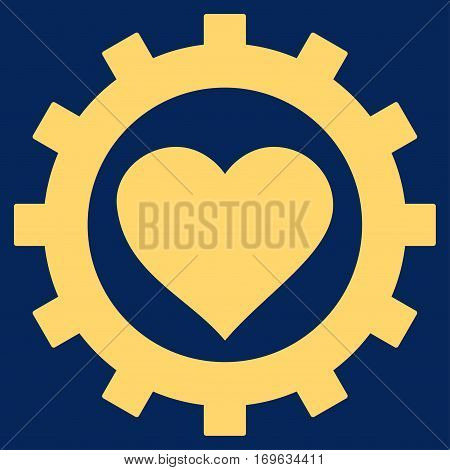 Love Heart Options Gear flat icon. Vector yellow symbol. Pictograph is isolated on a blue background. Trendy flat style illustration for web site design logo ads apps user interface.