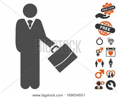 Standing Businessman pictograph with bonus valentine clip art. Vector illustration style is flat iconic elements for web design app user interfaces.