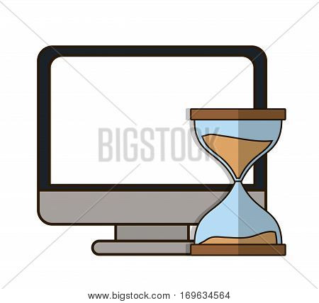 hourglass or sandglass and computer icon image vector illustration design