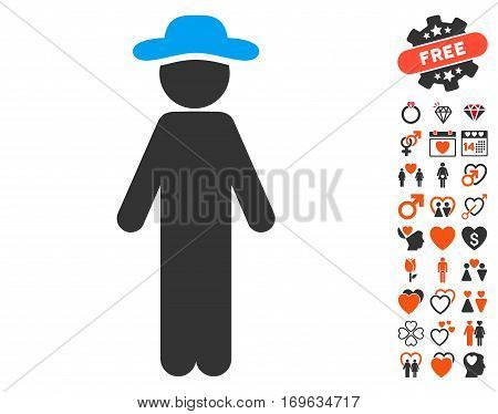 Standing Gentleman icon with bonus dating pictures. Vector illustration style is flat iconic symbols for web design app user interfaces.