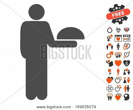 Standing Waiter pictograph with bonus marriage pictograms. Vector illustration style is flat iconic symbols for web design app user interfaces.