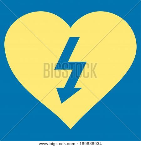 Power Love Heart flat icon. Vector yellow symbol. Pictogram is isolated on a blue background. Trendy flat style illustration for web site design logo ads apps user interface.