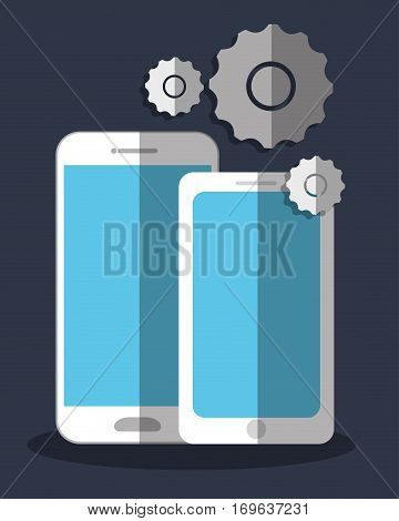 smartphone cellphone with gears icon image vector illustration design
