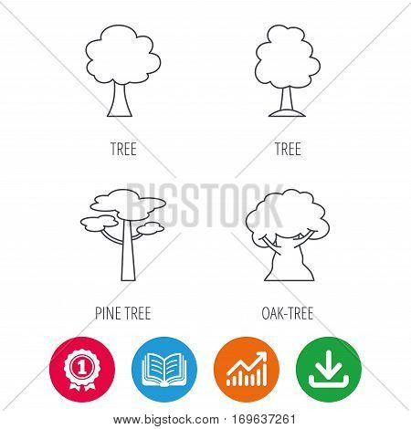 Pine tree, oak-tree icons. Forest trees linear signs. Award medal, growth chart and opened book web icons. Download arrow. Vector