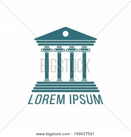 justice house logotype isolated on white background. concept of institution, governmental, library, educational, theatre, visual identity. flat style trend modern design vector illustration