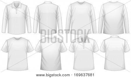T-shirt template with long and short sleeves illustration