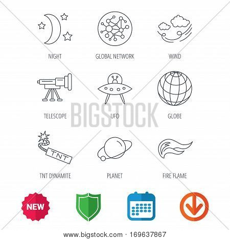 Ufo, planet and telescope icons. World, global network and night linear signs. TNT dynamite, fire flame and wind flat line icons. New tag, shield and calendar web icons. Download arrow. Vector