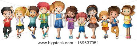Many children with happy face illustration