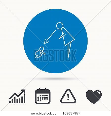 Under nanny supervision icon. Babysitting care sign. Mother watching baby symbol. Calendar, attention sign and growth chart. Button with web icon. Vector