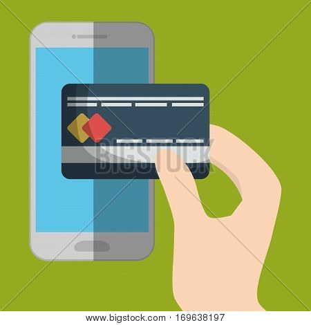 credit card and smartphone cellphone icon image vector illustration design