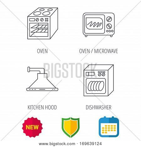 Microwave oven, dishwasher and kitchen hood icons. Oven linear sign. Shield protection, calendar and new tag web icons. Vector