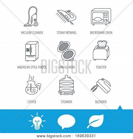 Microwave oven, coffee and blender icons. Refrigerator fridge, steamer and toaster linear signs. Vacuum cleaner, ironing and waffle-iron icons. Light bulb, speech bubble and leaf web icons. Vector