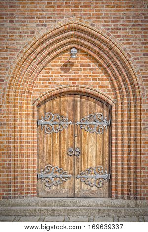 The entrance doorway to a church in the Danish town of Helsingor.