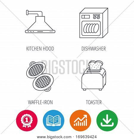 Dishwasher, waffle-iron and toaster icons. Kitchen hood linear sign. Award medal, growth chart and opened book web icons. Download arrow. Vector