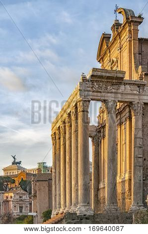 The ancient ruin of the Roman Temple of Antoninus and Faustina situated in the Italien capital of Rome.