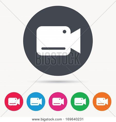 Video camera icon. Film recording cam symbol. Security monitoring. Colored circle buttons with flat web icon. Vector