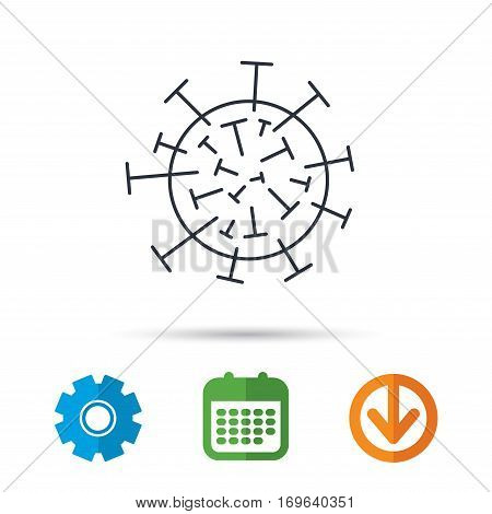 Virus icon. Molecular cell sign. Biology organism symbol. Calendar, cogwheel and download arrow signs. Colored flat web icons. Vector
