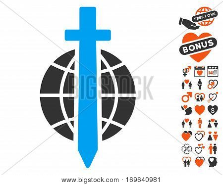 Sword Globe icon with bonus romantic icon set. Vector illustration style is flat iconic elements for web design app user interfaces.