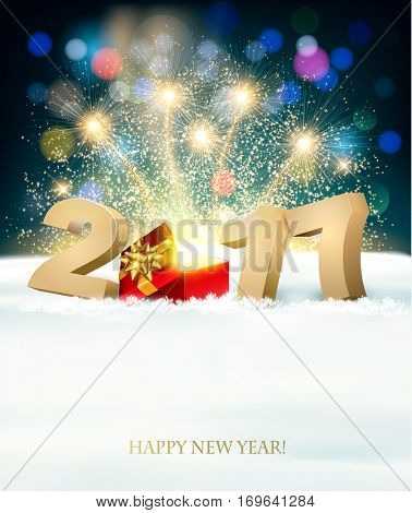 Happy New Year 2017 background with a magical gift box. Vector.