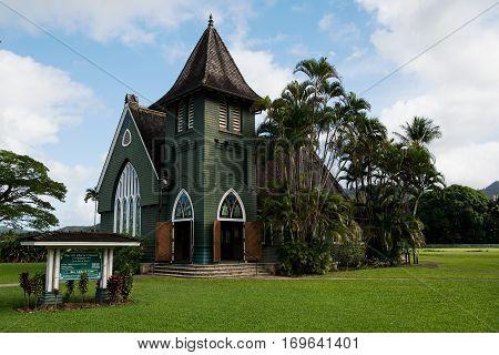 Wai`oli Hui`ia Church in Hanalei on Kauai Island, Hawaii