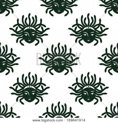 Medusa Gorgona pattern. Vector wallpaper. Isolated on white