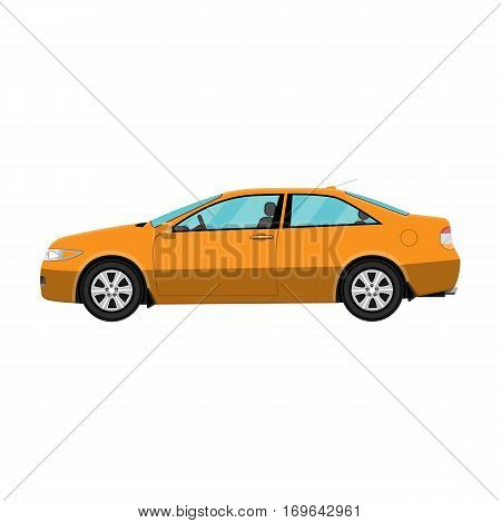Generic orange coupe car isolated on white. Vector illustration in flat style