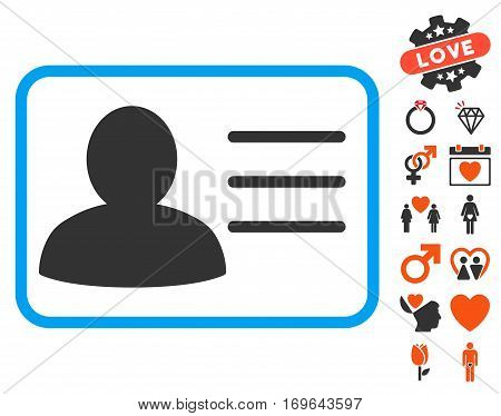 Account Card icon with bonus love clip art. Vector illustration style is flat iconic elements for web design app user interfaces.