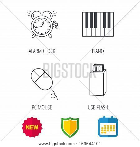 Alarm clock, USB flash and PC mouse icons. Piano linear sign. Shield protection, calendar and new tag web icons. Vector