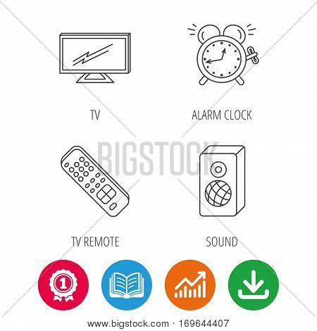 TV remote, alarm clock and sound icons. Widescreen TV linear sign. Award medal, growth chart and opened book web icons. Download arrow. Vector
