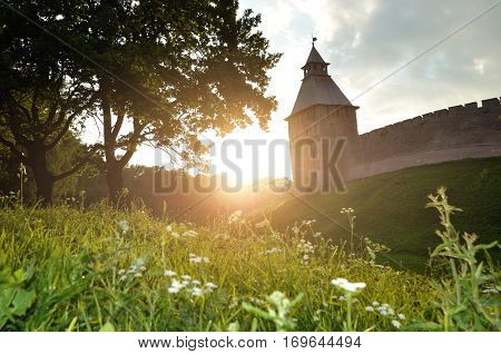 Architecture Russian landscape - Saviour tower of Veliky Novgorod Kremlin Russia. Summer view of Russian architecture of Veliky Novgorod, Russia