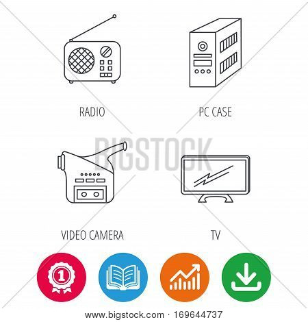 Radio, TV and video camera icons. PC case linear sign. Award medal, growth chart and opened book web icons. Download arrow. Vector