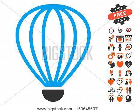 Aerostat pictograph with bonus love clip art. Vector illustration style is flat iconic symbols for web design app user interfaces.