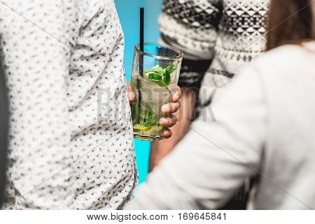 A Man Drinking Mohito In A Bar