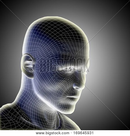 Concept conceptual 3D illustration wireframe young human male or man face or head glowing on gray background metaphor to technology, cyborg, digital, virtual, avatar, model, science, fiction, future