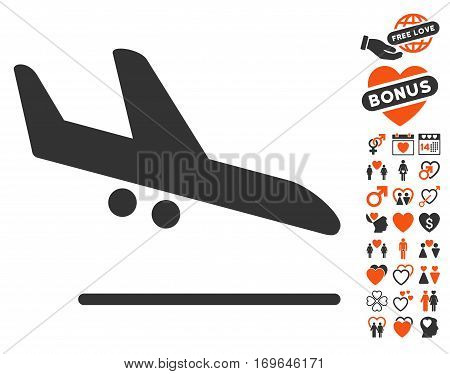 Aiplane Landing icon with bonus dating clip art. Vector illustration style is flat iconic elements for web design app user interfaces.