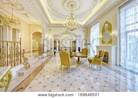 Russia,Moscow region -  living room interior design in new luxury country house