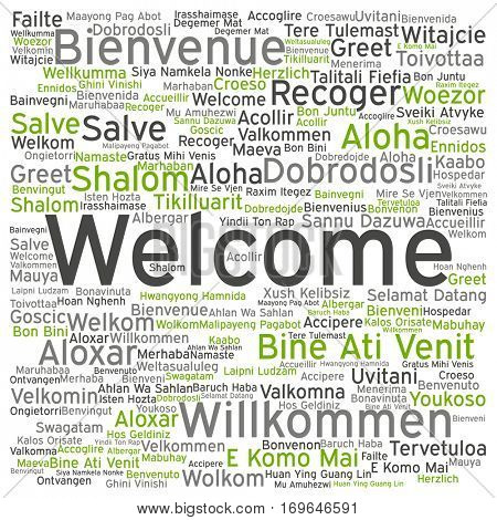 Concept conceptual abstract welcome or greeting international word cloud in different languages or multilingual isolated metaphor to world, foreign, worldwide, travel, translate, vacation or tourism