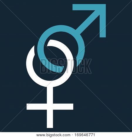 Sex Symbol flat icon. Vector bicolor blue and white symbol. Pictograph is isolated on a dark blue background. Trendy flat style illustration for web site design logo ads apps user interface.