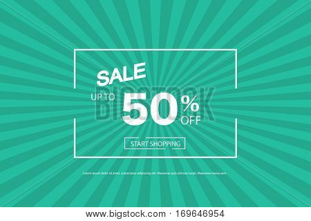 Sale vector illustration on a green sunburst background