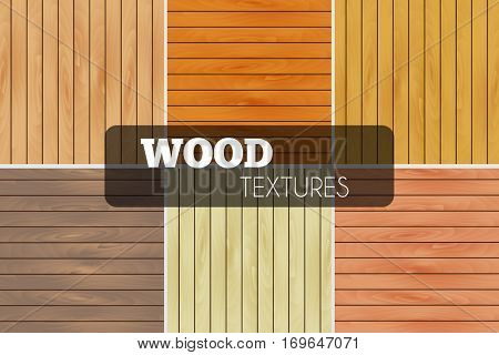 Colorful set of vector wood textures